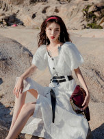 Dress Summer 2021 white S,M,L longuette Two piece set Short sleeve commute square neck middle-waisted Solid color zipper other puff sleeve Others 18-24 years old Type A Retro