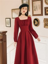 Dress Winter of 2019 claret S,M,L,XL Miniskirt singleton  Long sleeves commute square neck High waist Solid color Socket A-line skirt routine Others Type A Retro Splicing