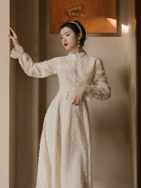 Dress Summer 2021 Apricot (short sleeve), apricot (long sleeve) S,M,L,XL Mid length dress singleton  Short sleeve commute stand collar High waist Solid color zipper Flying sleeve Others Type A Retro Lace