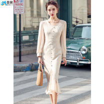 Dress Spring 2020 Apricot S M L XL 2XL Mid length dress singleton  Long sleeves commute V-neck High waist Solid color zipper One pace skirt bishop sleeve 25-29 years old Type X Manyi Korean version Ruffle panel button MY2002001 More than 95% Chiffon polyester fiber Polyester 100%