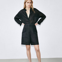 Casual pants black S,M,L Summer 2021 shorts Straight pants High waist street Thin money 30-34 years old 31% (inclusive) - 50% (inclusive) hemp pocket hemp Europe and America