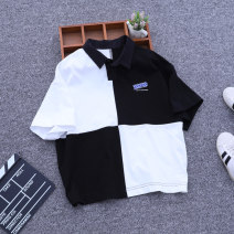 T-shirt Black and white check Wonderful circle male summer Short sleeve Crew neck Korean version No model nothing cotton Splicing Cotton 95% polyurethane elastic fiber (spandex) 5% Class B other 4, 5, 6, 7, 8, 9, 10, 11, 12, 13, 14, 14 and above Chinese Mainland Zhejiang Province Hangzhou