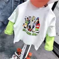 T-shirt White, green, black Coloerdery / colorful diary 5 (recommended 85-90cm), 7 (recommended 90-95cm), 9 (recommended 95-105cm), 11 (recommended 105-115cm), 13 (recommended 115-125cm), 15 (recommended 125-135cm) neutral No season Long sleeves Crew neck leisure time Official pictures nothing cotton