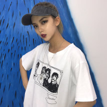 T-shirt White black S M L XL Summer of 2018 Short sleeve Crew neck easy Regular routine Sweet polyester fiber 86% (inclusive) -95% (inclusive) 18-24 years old youth letter college
