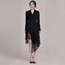 Dress / evening wear Wedding, adulthood, party, company annual meeting, performance, routine, appointment XS,S,M,L black Intellectuality longuette High waist Winter 2020 Self cultivation Deep collar V Deep V style Polyester brazing dimension 26-35 years old Long sleeves Solid color routine