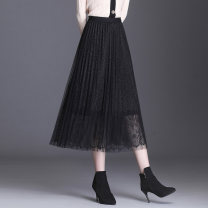 skirt Autumn 2020 Average size Black, gray, blue, green longuette Versatile High waist Pleated skirt Solid color Type A 25-29 years old Lace polyester fiber Lace