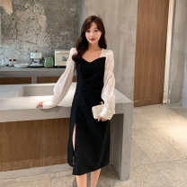 Women's large Spring 2021 Black long, black short Big l [quality assurance], big XL [quality assurance], big 2XL [quality assurance], big 3XL [quality assurance], big 4XL [quality assurance], big 5XL [quality assurance] Dress singleton  commute easy moderate Socket Long sleeves ZL9276 Wujijia