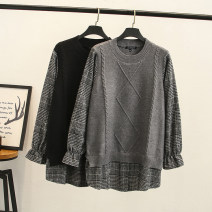 Wool knitwear Winter of 2019 XL,2XL,3XL Black, gray Long sleeves Fake two pieces Socket Cellulose acetate 51% (inclusive) - 70% (inclusive) Medium length routine commute easy Low crew neck pagoda sleeve lattice Socket Korean version 30-34 years old Other / other
