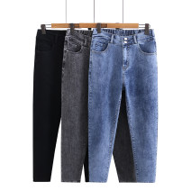 Jeans Spring 2021 Black, blue, gray XL,2XL,3XL,4XL,5XL trousers High waist Pencil pants routine 18-24 years old washing Cotton elastic denim Dark color Other / other 51% (inclusive) - 70% (inclusive)