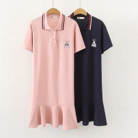 Dress Summer 2020 Navy, pink XL,2XL,3XL,4XL,5XL Mid length dress singleton  Short sleeve commute Polo collar Loose waist Animal design Socket One pace skirt routine Others 30-34 years old Type H Other / other Korean version 51% (inclusive) - 70% (inclusive) cotton