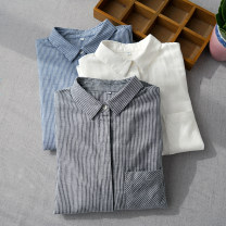 shirt Milky white, grey bar, blue bar S,M,L Spring of 2019 cotton 96% and above Long sleeves commute Regular Simplicity