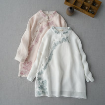 shirt Milky white, ginger, Navy, red, pink, water green Average size Spring 2020 hemp 96% and above three quarter sleeve Regular stand collar FW2036