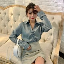 shirt White, black, Burgundy, champagne, green, light blue Average size Spring of 2019 polyester fiber 96% and above Long sleeves Versatile Regular Polo collar Socket routine Solid color 18-24 years old Straight cylinder Other / other