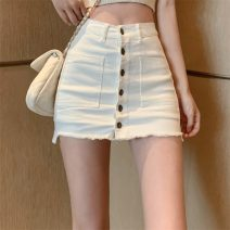 skirt Summer 2020 S,M,L White, black Short skirt Versatile High waist A-line skirt Solid color Type A 18-24 years old 51% (inclusive) - 70% (inclusive) Denim 201g / m ^ 2 (including) - 250G / m ^ 2 (including)