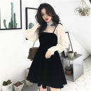 Dress Autumn 2020 Two piece set Average size Middle-skirt Two piece set Long sleeves commute stand collar High waist Solid color Socket A-line skirt camisole 18-24 years old Type A lady 31% (inclusive) - 50% (inclusive)
