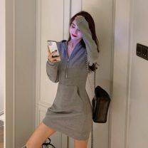 Dress Winter of 2019 Gray, black, white Average size Short skirt singleton  Long sleeves commute High waist Socket One pace skirt 18-24 years old Other / other Korean version