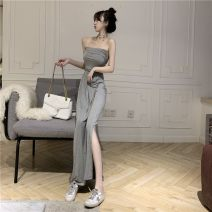 Dress Spring 2021 Gray, black Average size longuette singleton  Sleeveless commute One word collar High waist Solid color Breast wrapping 18-24 years old Retro