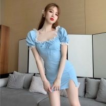 Dress Summer 2021 blue Average size Short skirt singleton  Short sleeve commute square neck A-line skirt puff sleeve 18-24 years old lady Lace
