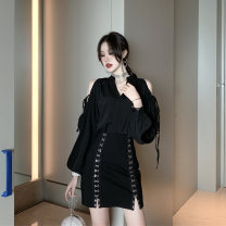 Fashion suit Summer of 2019 S,M,L Black shirt, black skirt 18-25 years old