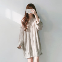 Dress Winter of 2019 Black, Burgundy, apricot Average size Middle-skirt Long sleeves commute V-neck Solid color Type H Other / other Retro acrylic fibres