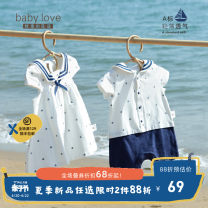 Jumpsuit / climbing suit / Khaki baby love  Class A currency I'm navy blue. I'm Navy white 80cm 90cm 100cm 110cm 120cm 59cm 66cm 73cm cotton summer Short sleeve Short climb college No model nothing Cotton 95% other 5% Single breasted BQ212684 Summer 2021 12 months 18 months 2 years 3 years old