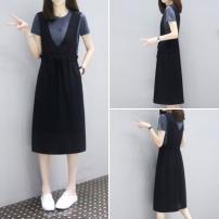 Dress Summer 2021 Grey blue + Black M,L,XL,2XL,XXXL Mid length dress Two piece set Short sleeve commute Crew neck straps 25-29 years old Simplicity cotton