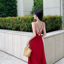 Dress Spring 2021 gules S,M,L Mid length dress singleton  Long sleeves commute V-neck High waist Solid color A-line skirt routine camisole Type A A thousand beauties Retro Button