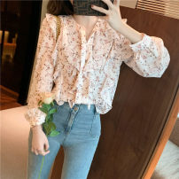 Lace / Chiffon Spring 2021 Apricot S,M,L,XL Long sleeves commute Socket singleton  easy Regular V-neck Decor routine 25-29 years old Korean version