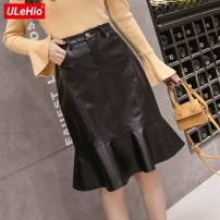skirt Autumn 2020 S,M,L,XL Black, collect and give gifts Mid length dress Versatile High waist A-line skirt Solid color Type A 51% (inclusive) - 70% (inclusive) other PU pocket
