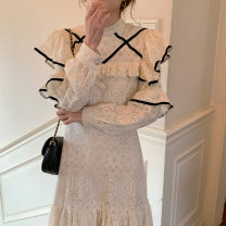 Dress Spring 2021 cream  S, M Mid length dress singleton  Long sleeves commute Crew neck other other other other 18-24 years old Korean version