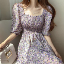 Dress Summer 2020 Purple, pink S,M,L Mid length dress singleton  elbow sleeve commute square neck High waist Broken flowers other other other Others 18-24 years old Korean version Chiffon