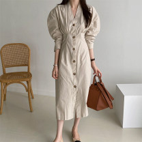Dress Spring 2021 Khaki, green S, M Mid length dress singleton  Long sleeves commute V-neck High waist Solid color Single breasted other puff sleeve 18-24 years old Type A Korean version