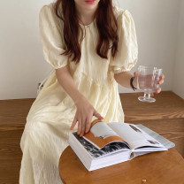 Dress Summer 2020 white , Cream apricot Average size Mid length dress singleton  Short sleeve commute Crew neck Loose waist Solid color Socket other routine Others 18-24 years old Type H Korean version 51% (inclusive) - 70% (inclusive) other