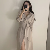 Dress Winter 2020 Apricot, white, black Average size Mid length dress singleton  Long sleeves commute V-neck Solid color other other Others 18-24 years old Korean version