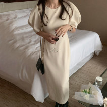 Dress Spring 2021 Apricot, black S, M longuette singleton  elbow sleeve commute Crew neck Solid color other other Others 18-24 years old Korean version