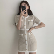Dress Summer 2020 Off white, black Average size Middle-skirt singleton  Short sleeve commute Crew neck High waist Single breasted other other Others 18-24 years old Pocket, button 81% (inclusive) - 90% (inclusive)