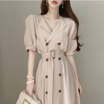 Dress Summer 2020 Khaki, white, black Average size longuette singleton  Short sleeve commute V-neck High waist Solid color other other puff sleeve Others 18-24 years old Korean version