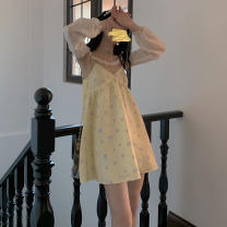 Dress Spring 2021 yellow S,M,L Mid length dress Two piece set Sleeveless commute stand collar High waist A-line skirt routine camisole 18-24 years old Type A
