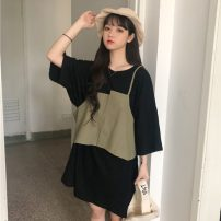 Dress Summer 2021 White T-shirt + Khaki sling, black T-shirt + military green sling One size fits all, XXS pre-sale Middle-skirt Two piece set three quarter sleeve commute Crew neck Loose waist Solid color Socket other Bat sleeve Others 18-24 years old Type H Other / other Korean version knitting