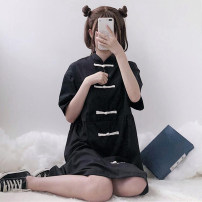 Dress Summer of 2019 Apricot, black One size fits all, XXS pre-sale Middle-skirt singleton  Short sleeve Sweet Loose waist Solid color other 18-24 years old Type A Other / other solar system