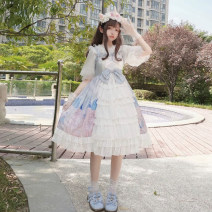 Dress Summer of 2019 One size fits all, XXS pre-sale Middle-skirt singleton  Short sleeve Sweet One word collar High waist Princess Dress other camisole 18-24 years old Type A Other / other Lolita