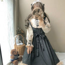 Dress Winter of 2018 Apricot and black, headdress One size fits all, XXS pre-sale Mid length dress singleton  Long sleeves Sweet Doll Collar High waist zipper pagoda sleeve Others 18-24 years old Type A Other / other zipper solar system