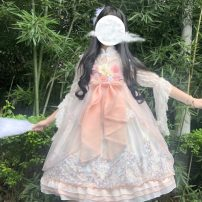 Dress Summer 2020 Cherry white jsk, lace inside One size fits all, XXS pre-sale Middle-skirt Two piece set Sweet stand collar High waist Princess Dress other Others 18-24 years old Type A Lolita