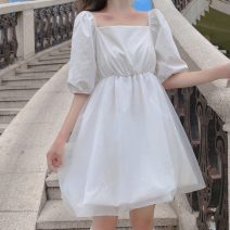 Dress Summer 2020 White, black One size fits all, XXS pre-sale Mid length dress singleton  Short sleeve Sweet square neck High waist A-line skirt puff sleeve Others 18-24 years old Type A college