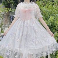 Dress Summer 2020 Blue, pink One size fits all, XXS pre-sale Middle-skirt singleton  Sleeveless Sweet One word collar High waist Socket Princess Dress camisole 18-24 years old Type A Lolita