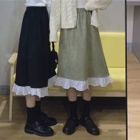 skirt Spring 2021 One size fits all, XXS pre-sale Black, bean green Mid length dress Sweet High waist A-line skirt 18-24 years old solar system
