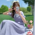 Dress Summer 2021 Purple, red Average size longuette singleton  Short sleeve Sweet Doll Collar High waist Solid color Socket Big swing puff sleeve 18-24 years old Type A Lace 30% and below Mori