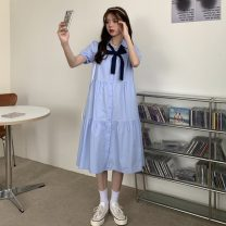 Dress Summer 2021 Average size longuette singleton  Short sleeve commute Polo collar Loose waist Solid color Single breasted A-line skirt puff sleeve 18-24 years old Type A Korean version bow 30% and below