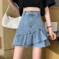 skirt Summer 2021 S,M,L wathet Short skirt commute High waist Ruffle Skirt 18-24 years old 30% and below Lotus leaf edge Korean version