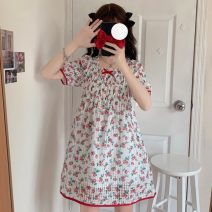 Dress Summer 2021 Picture color Average size Middle-skirt singleton  Short sleeve Sweet Loose waist Socket Big swing 18-24 years old Type A Print, bow 30% and below solar system